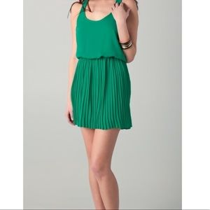Parker Green Racer Back Pleated Dress